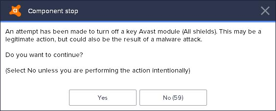 disable avast 2018 warning